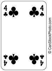 Poker playing card 4 club