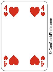 Poker playing card 4 heart