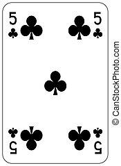 Poker playing card 5 club