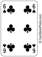 Poker playing card 6 club