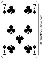 Poker playing card 7 club