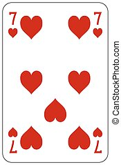 Poker playing card 7 heart