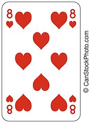 Poker playing card 8 heart