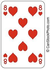 Poker playing card 8 heart