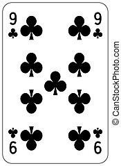 Poker playing card 9 club