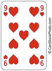 Poker playing card 9 heart