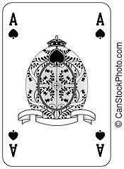 Poker playing card Ace spade