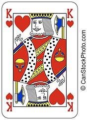 Poker playing card King heart
