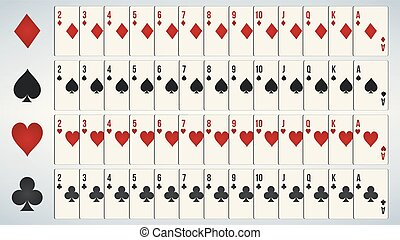 Poker playing cards, full deck.