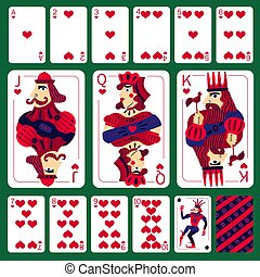 Poker Playing Cards Heart Suit Set - Set of poker playing...