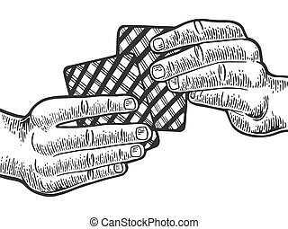 Poker playing cards in hands engraving vector illustration....