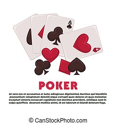 Poker promotional banner with play cards of all suits and sample text. Gambling and money stakes commercial poster isolated cartoon flat vector illustration with sample text on white background.