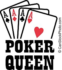 Poker queen with four aces playings cards suits