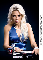 poker, ragazza