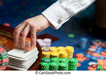 poker, revendeur, main