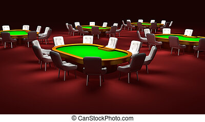 Poker room, Poker tables with chairs in the interior