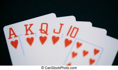 poker, Royal flush of hearts - poker Royal flush of hearts.