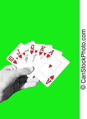 poker royal flush with clipping path