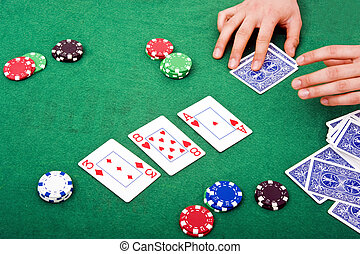 Poker scene - Details of a poker table during a game