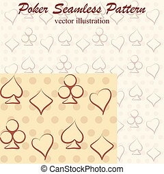 Poker seamless pattern monochrome,