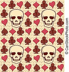 Poker seamless pattern with skull,