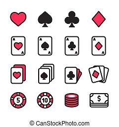 poker, set, icona
