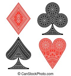 Poker set in ethnic style - Poker set with isolated cards in...