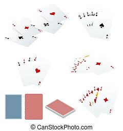 Poker set with isolated cards isolated on white background