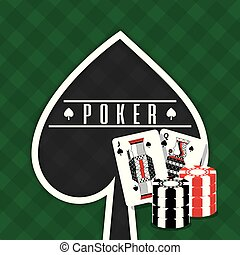 poker sign spade cards and chips gamble green background