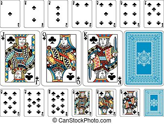 Poker size Club playing cards plus reverse - Cards from the...