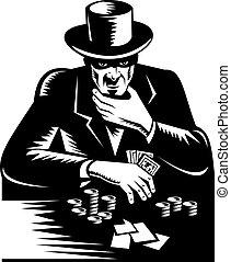 poker, sommet, élevé, jeu, homme, chapeau, jeu carte, pieux