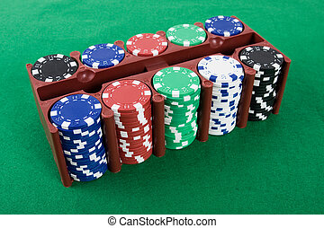 poker- späne, in, a, kasten