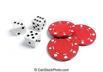 poker- späne, und, spielwürfel