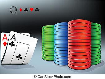 poker- späne, und, zwei, asse