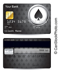 Poker spade credit card design in black