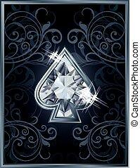 Poker spade diamond card, vector illustration