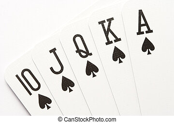 Poker - spades royal flush - Poker hand - royal flush on...