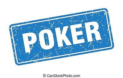 poker stamp. poker vintage blue label. Sign