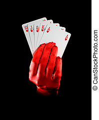 poker - female hand with royal flush on black bacground