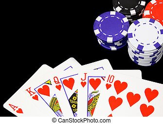 Poker - Casino chips have been won after showing a royal...