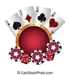 poker stukje, casino, dobbelstenen, kostuum, kaarten