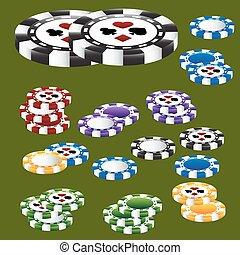 poker stukje, kaart, kostuums