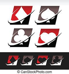 poker, swoosh, icônes