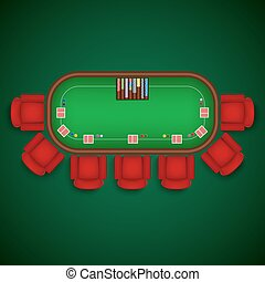 Poker table with chairs and cards chips template