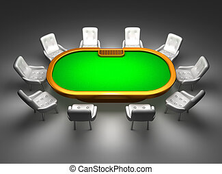 Poker table with chairs top view isolated on black