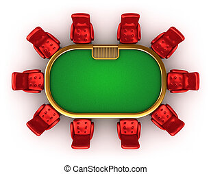 Poker table with chairs top view