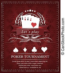 Poker background for tournament or presentation in retro style and place for your content