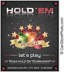 Poker tournament dark background with poker chips and stars.