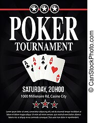 Poker tournament event invitation design in vector