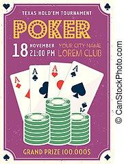 Poker tournament invitation colored poster